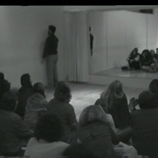 Installation shot of Performer/Audience/Mirror, Dan Graham, 1975.