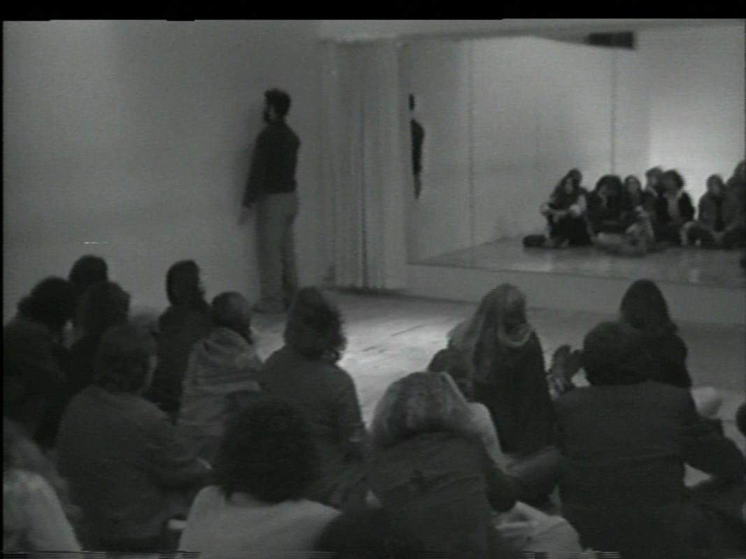 Installation shot of Performer/Audience/Mirror, Dan Graham, 1975.