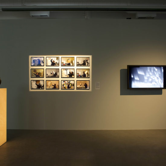 Installation view of Sensing the Future: Moholy-Nagy, Meida and the Arts curated by Oliver A. I. Botar at Plug In ICA, 2014.