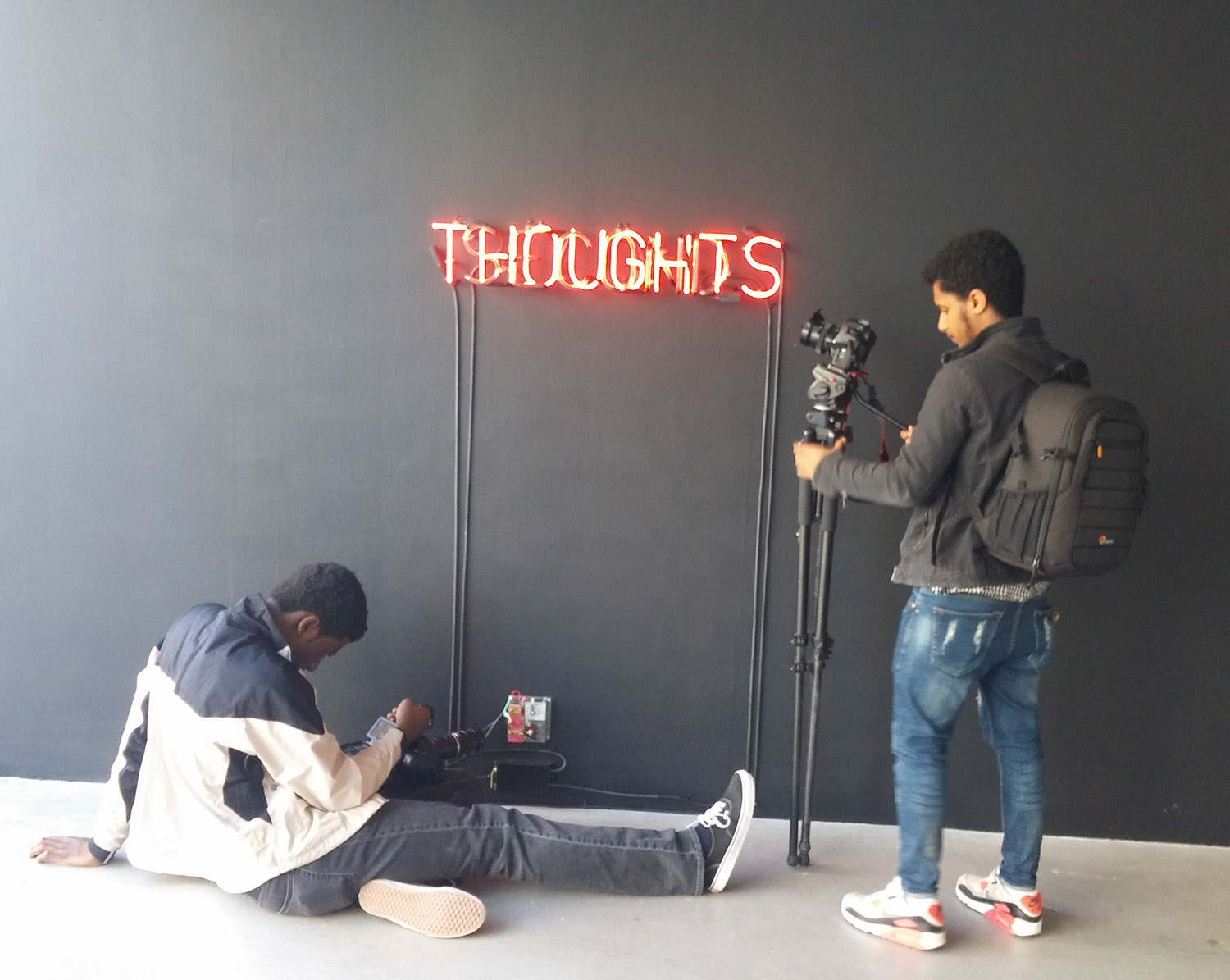 Victor Ilunga (left) and Birehanu Bishaw (right) filming Angie Keefer's Second Thoughts, 2017