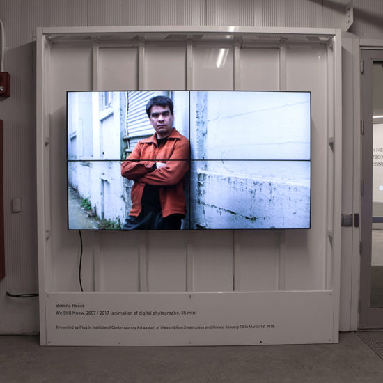 Skeena Reece, We Still Know, 2007/2017. Animation of digital photographs. Installation view at Plug In ICA. Photo: Karen Asher