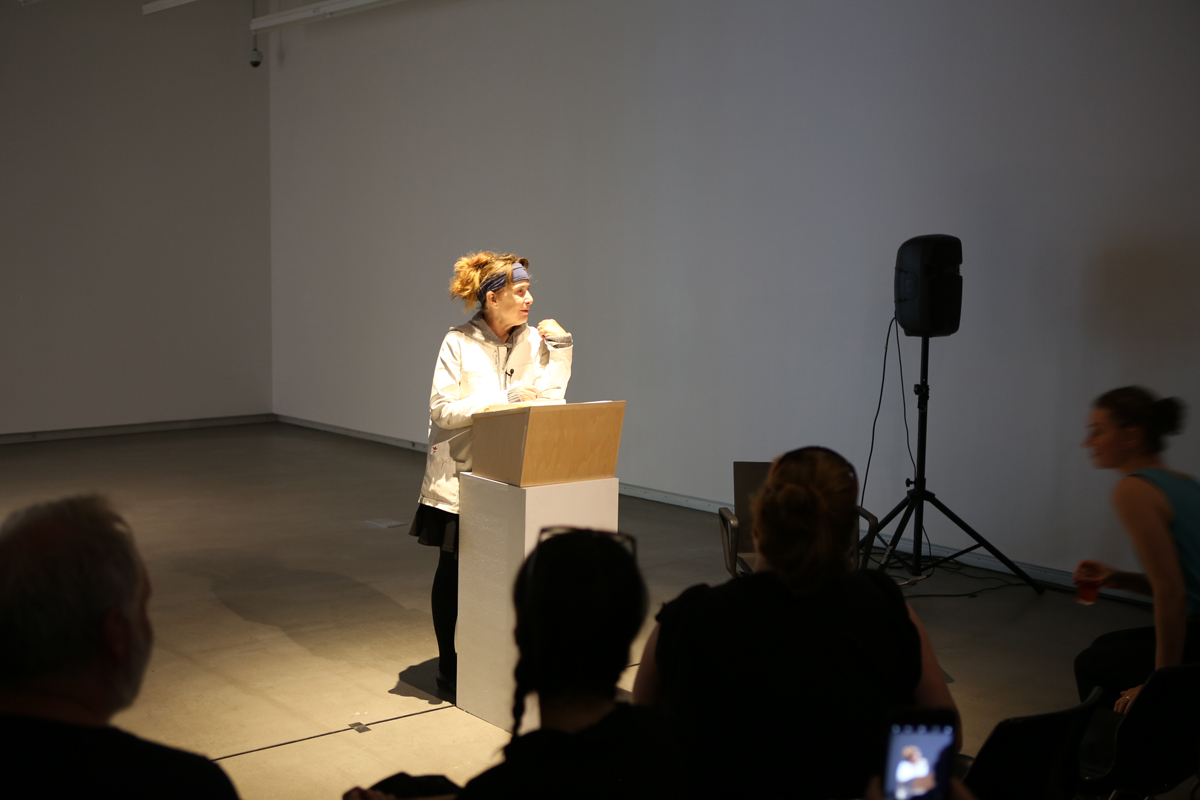 Chris Kraus, reading at Plug In ICA in conjunction with Summer Institute Session I. Photo: Luther Konadu.