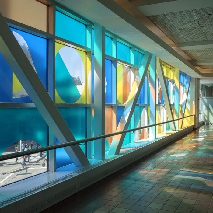 Kenneth Lavallee, Skywalkers Window installation; printed static vinyl