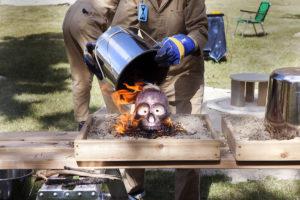 FASTWÜRMS, #witch_raku_skull_fire, 2019 A site-specific performance; August 22