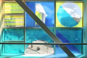Kenneth Lavallee, Skywalkers Window installation; printed static vinyl