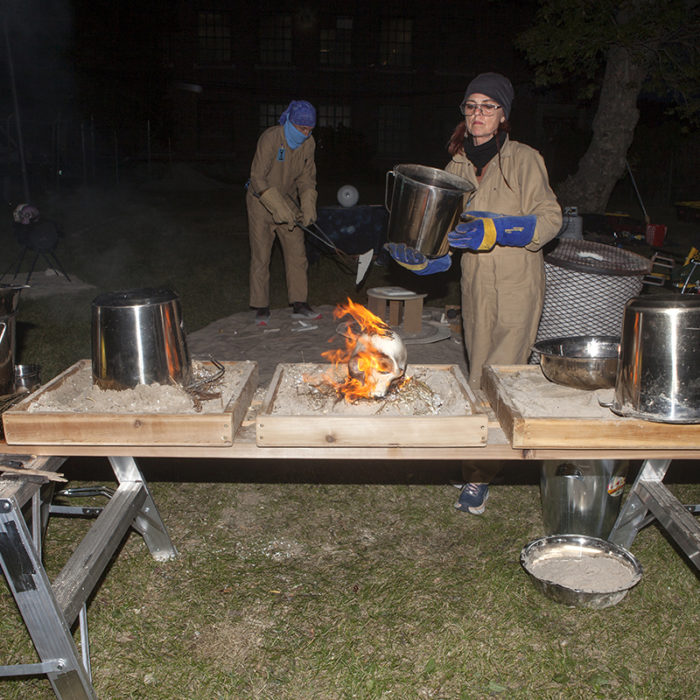 FASTWÜRMS, #witch_raku_skull_fire, 2019 A site-specific performance; August 22