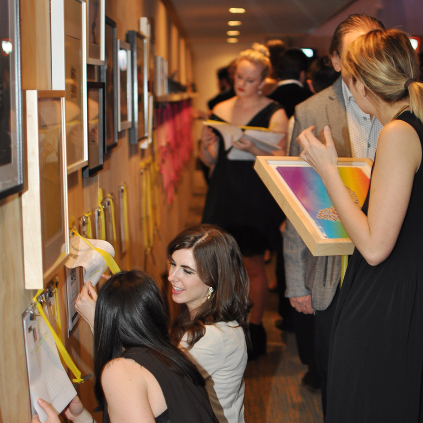 People biding on art at the 2015 GALA