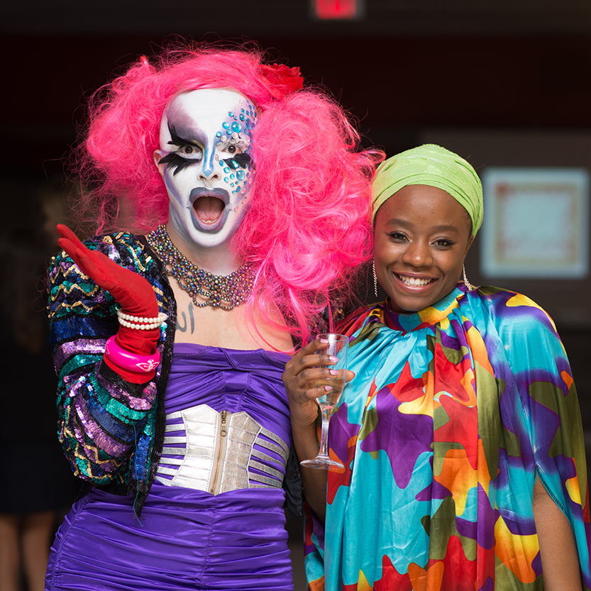 Two brightly costumed people at the 2017 GALA