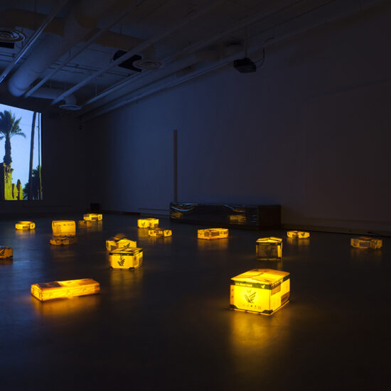 Installation image, of سندباد and sandbox by Gelare Khoshgozaran